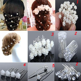 Wholesale American Clip - New 120PS Wedding Bridal Pearl Flower Crystal Hair Pins Clips 5 Styles Hair Accessories For gift[JH03001-JH03005(120)]