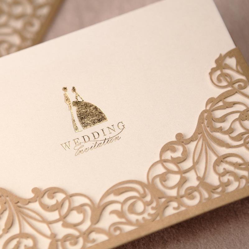 Gold Wedding Invitations Vintage Hollow Lace Laser Cut Printable Cards Blank Card 170115mm Favors Invitation Online