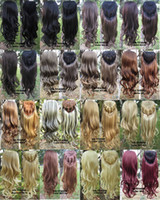 """Wholesale Long Curly Wavy Hairpieces - 3 4 Full Long Wavy Curly Half Wig high Proof synthetic European wig Fashion hairpiece 200g,24"""",17 colors available 1pc"""