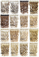 Wholesale clip in synthetic hair extension hairpieces clips in on wavy slice hairpiece cm grams colors available pc