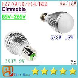 Wholesale Dimmable B22 - X5 Free shipping Retail Dimmable Bubble Ball Bulb 85-265V 9W 12W 15W E14 E27 B22 GU10 High power lamp Globe light LED Lighting
