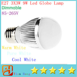 Wholesale E27 Ball - Retail Dimmable Bubble Ball Bulb 85-265V 9W E14 E27 B22 GU10 High power lamp Globe light LED Lighting