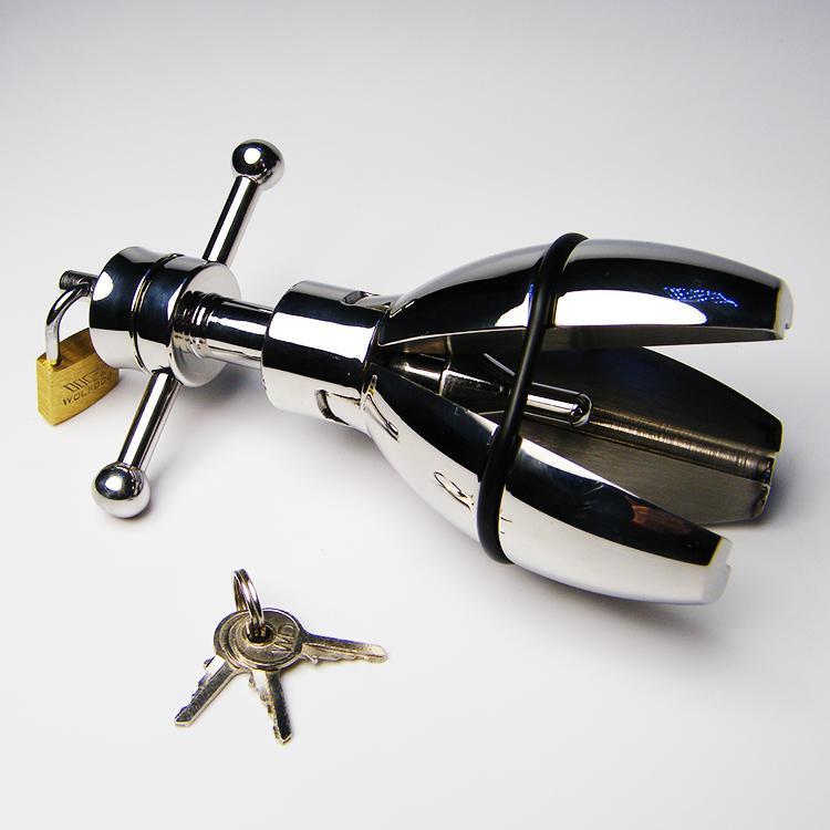 새로운 항문 마개 도착 BDSM 스테인레스 스틸 항문 엉덩이 장치를 확장하는 자물쇠가있는 스트레칭 성인용 섹스 토이