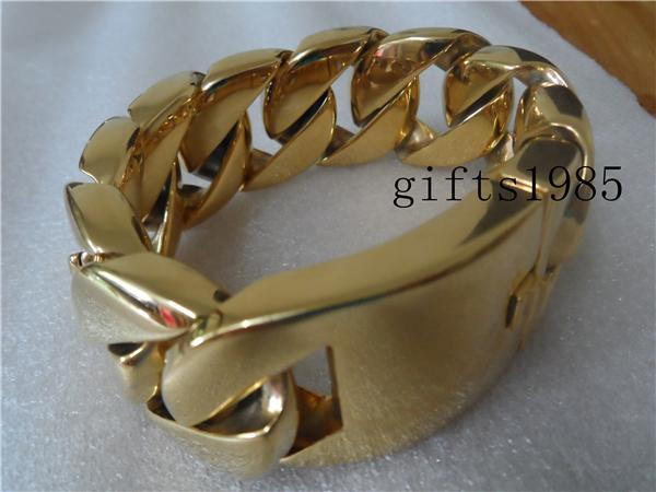 COOL 9inch 32mm Cuban heavy weight gold men's stainless steel large super bracelet