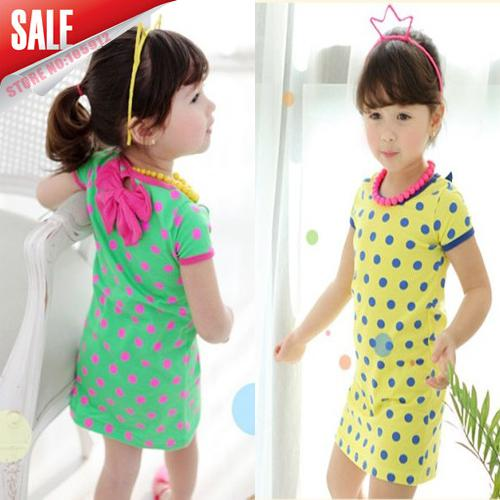 5014a8230 2019 Wholesale Children Clothing 2014 Summer Girls Candy Color Dot ...
