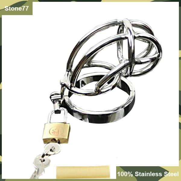 Hot Sale Small Male 304L Stainless Steel Bondage Chastity Device Cock Cage Breathable Penis Ring Lock SM Fetish Sex Toys