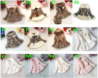 Wholesale Girls Leopard Dress Coat - Retail Girls Leopard faux fox fur collar coat clothing with bow Autumn Winter wear Clothes baby Children outerwear dress jacket