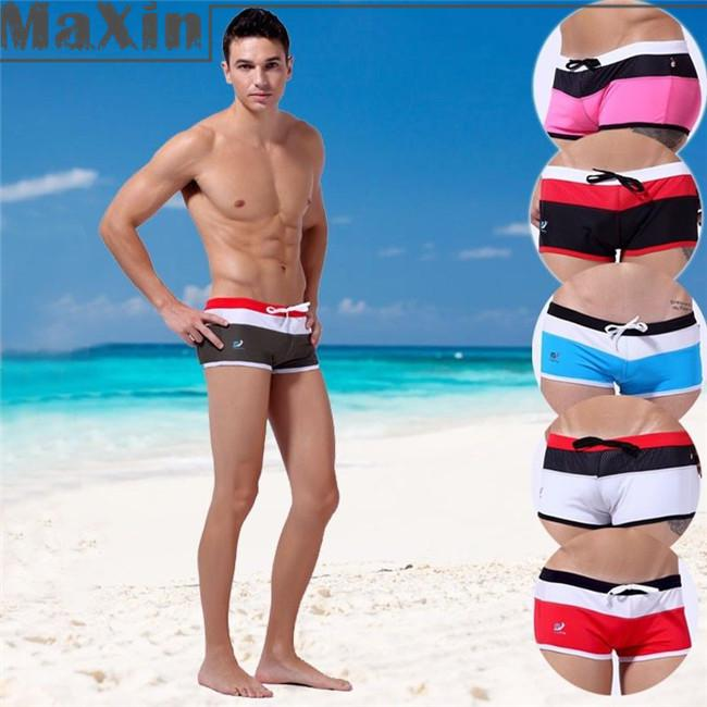 2018 Hot Mens Sexy Beach Pants Fashion Draw Cord Striped Swimwear Boxers Swimming Sports Trunks Swim Shorts Briefs S M L From Chengronglai