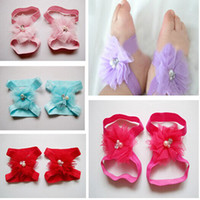 Wholesale Rhinestone Shoe Ornaments - 30pairs lot Baby Girls Rhinestone Barefoot Socks Sandals Shoes Kids Tulle Pearl Foot Ornaments Child Infant Flower Socks 10 Color M0307
