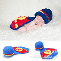 Wholesale Infant Knit Mermaid - Infant Costume Photography Toddler Mermaid Hat Set Handmade Knit Crochet Blue Superman