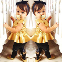 Wholesale Tank Girl Leggings - cool Children's Outfits Sets girls' suit gold T-shirts tank tops black leggings tight trousers pants T05
