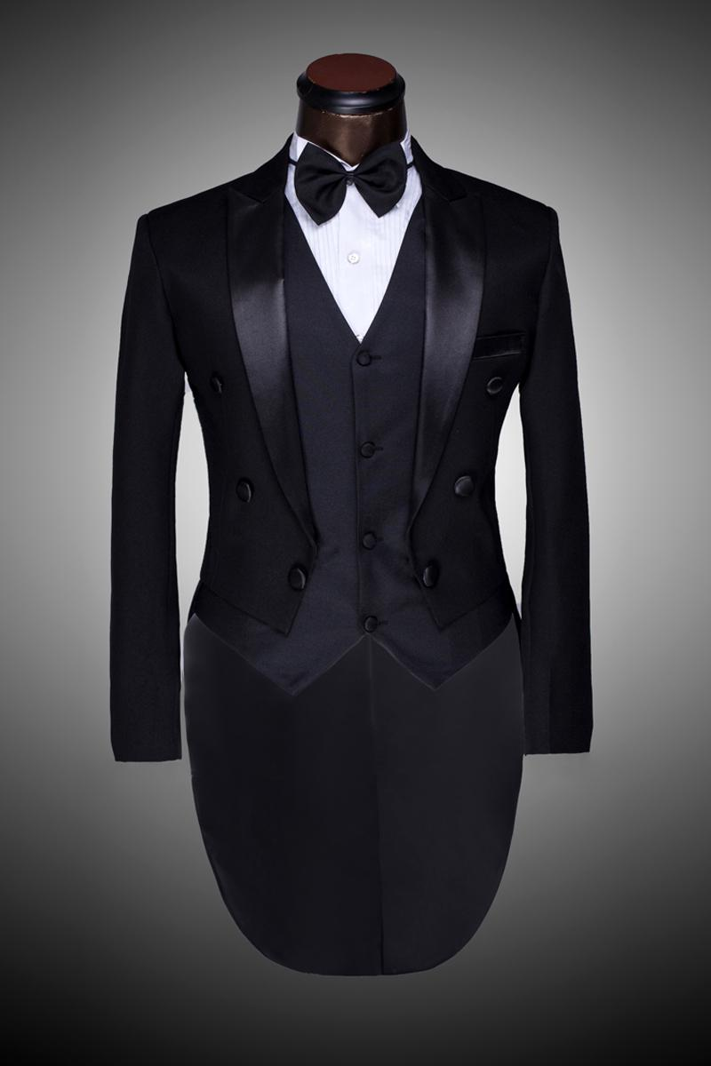 Hot ! Male Custom Groom Prom Suit 2014 Mens Tuxedo Black And White ...