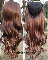 Wholesale Colour Clip - lowest price Synthetic 3 4 half wig Fall Clip in hair pieces wavy curl half hairpiece With plastic comb 16 colours available