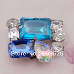 Wholesale Shoe Brooches Clips - free shipping rhinestone crystal blue shoe clip on buckle  brooch pin wholesale retail high quality ornament, JP008