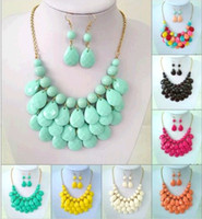 Wholesale Jewellery Bubble Necklaces - 8 Colors Bib Bubble Statement Necklace 2014 New Fashion Chokers for Women Jewellery Acrylic Beaded Necklaces with Earrings