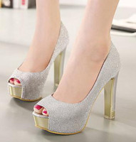 Wholesale Silver Glitter Chunky High Heels - fashion glitter silver peep toe high platform pumps metal decoration ladies wedding shoes 2014 12cm size 35 to 39