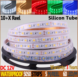 Wholesale Silicon Tube Led Strip Lighting - 10+X Reel DHL Delivery High Quality Flexible 12V Silicon Tube Waterproof 5050 LED Strip 5m 60LED m 14.4W M Strips Light,White,WW ,Yellow,RGB