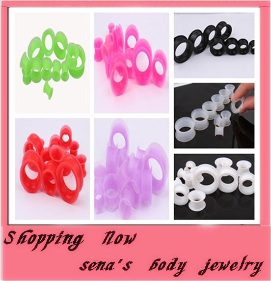 top popular mix 4-16mm 7 colors 100pcs body jewelry silicone double flare flesh tunnel gauges ear plug 2021