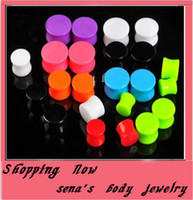 Wholesale Solid Plugs - mix 3-12mm 7 color 100pcs lot body jewelry acrylic solid ear expander ear plug flesh tunnel pierce