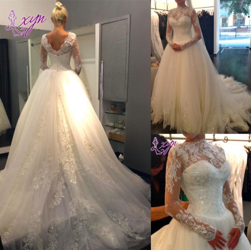 2019 Ny skräddarsydda långärmad bröllopsklänningar Prinsessan Beaded Applique High Collar Court Train Ball Gown Lace Bridal Gowns
