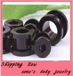Wholesale 12mm Ear Expander - mix 2-12mm 100pcs lot acrylic black screw ear plug body jewelry piercing flesh tunnel earring kits expander