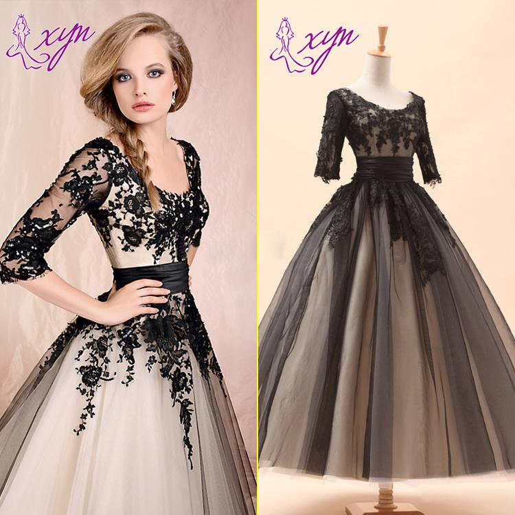 2015 New Vintage Style Short Wedding Dresses Ankle Length Scoop Neck Half Sleeve Black Lace Champagne Lining A-Line Bridal Gowns Custom Made