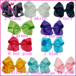 """Wholesale Big Bow Alligator Clips - 10 Pcs lot 8"""" Big Grosgrain Ribbon Hair Bow Boutique Hair Bows For Girls Hot Sale Solid Ribbon Bows With Alligator Clips"""