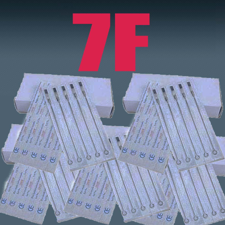 7F 100x 전문 멸균 문신 바늘 플랫 쉐이더 (F) 크기 총 잉크 키트 문신 공급 용