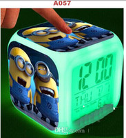 Wholesale Glow Clocks - 1PCS minion LED 7 Colors Change Digital Alarm Clock Despicable Me2 Frozen Maleficent Thermometer Night Colorful Glowing toys vgbcfu
