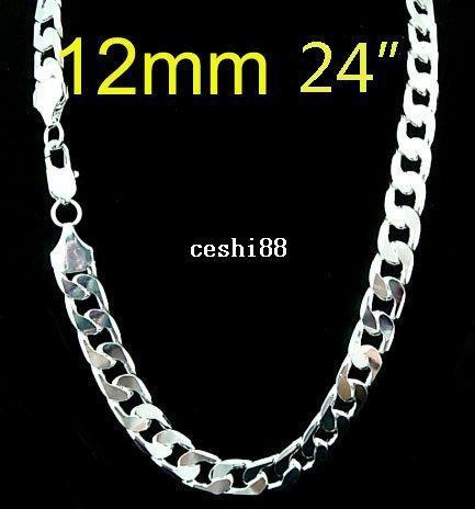 Оптовая 925 Серебро Серебро 12 мм ожерелье для мужчин 24 дюймов Бесплатная доставка,
