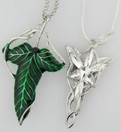 Wholesale Arwen Brooch - 1x Set LOTR Lord Of The Rings Elven Leaf Brooch Arwen Evenstar Pendant Necklace