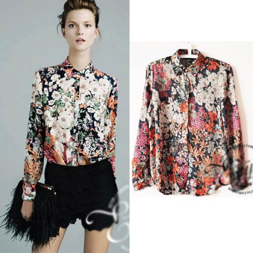 81069a76327d 2019 Vintage New Women Printed Blouses Fashion Long Sleeve Flowers Punk  Shirts Sexy Ladies Womens Tops And Blouses Shirts Blusas Cardigan C33 From  ...