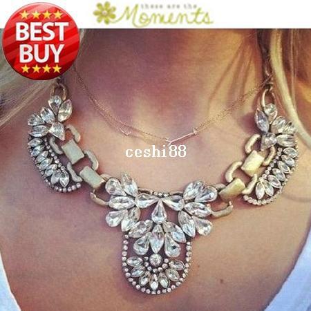 2014 New Fashion Chain Choker Shourouk Vintage Rhinestone Alloy Gem Ethnic Bib Statement Necklaces & Pendants Women Jewelry Gift