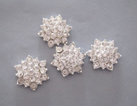 Wholesale 100pcs Silver Tone FlatBack Rhinestone Buttons Bridal Bouquet Flower Accessory Hair Flower Accessory mm