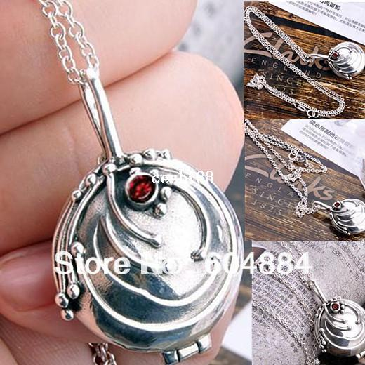 New Fashion 1Pcs Silver The Vampire Diaries Vervain Style Locket Pendant Necklace Free Shipping