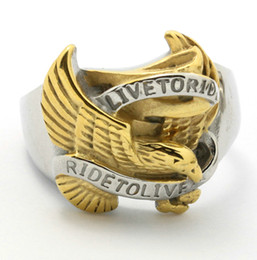 Wholesale Wholesale Biker Rings Free Shipping - Free Shipping 316l Stainless Steel Ring Fashion Ride To Live Eagle Ring Jewelry Biker Ring Wholeslae Lot