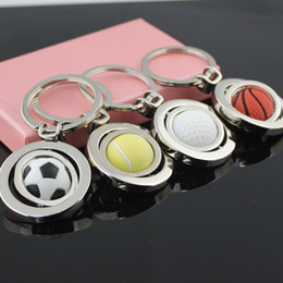 Wholesale tennis ball keychain - 10pcs Lot 3D Sports Keychain Rotating Basketball Soccer Golf Tennis Ball Keyring Key Chain Ring Keyfob Key Holder