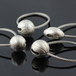 Wholesale Steel Wire Keychain - 10pcs Lot 3D Ball Model Keychain Sports Wire Rope Basketball Soccer Football Tennis Keyring Key Chain Ring Key Fob