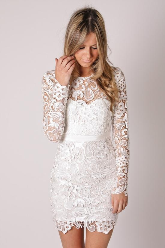Cheap 2016 Vintage Lace Wedding Dresses Chic Jewel Neck Long Sleeve ...