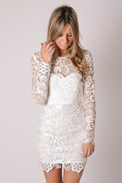 Wholesale Chic Long Dresses - Cheap 2016 Vintage Lace Wedding Dresses Chic Jewel Neck Long Sleeve White Mini Short Bridal Wedding Gowns