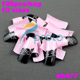 designer nails tips Promo Codes - Wholesale-MN-New Arrival 100x Pink and Black Lace Pre Design Airbrush Nail Tips Designer French Nail Art Tips wholesales #E477 SKU:A0211