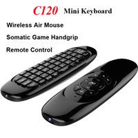 Wholesale Mini Box Tv Receiver - C120 Fly Air Mouse Gyroscope USB receiver 3 Axis Sensor Air 3D Somatic Game Handgrip for Smart Tv Box Wireless Remote Control Game Keyboard