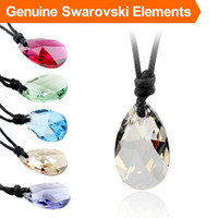 Wholesale swarovski elements made for sale - Group buy Wax rope crystal pendant necklace made with Swarovski Elements