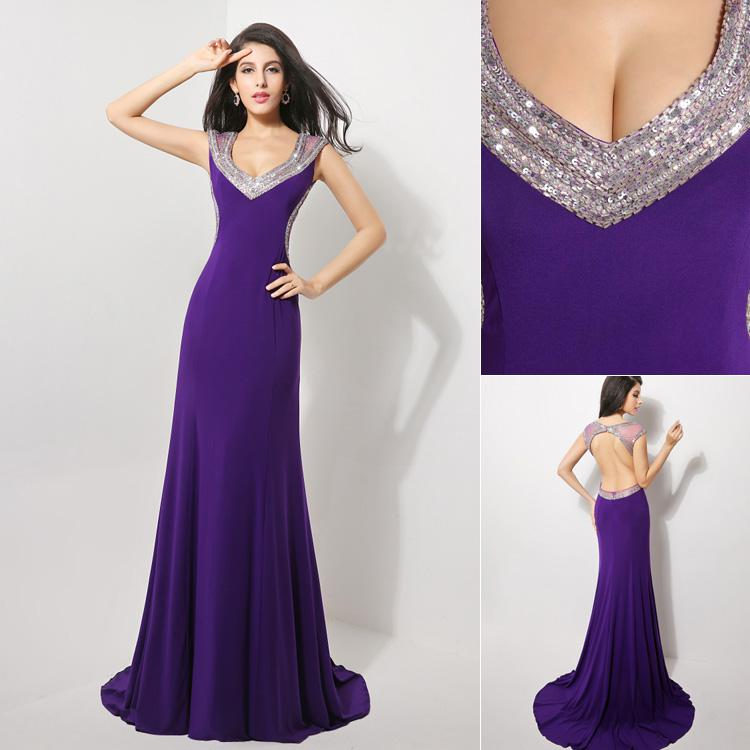 Purple sexy evening gowns