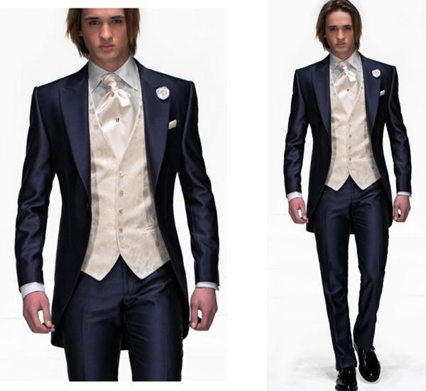 Classic Style Navy Blue One Button Groom Tuxedos Best Man Peak ...