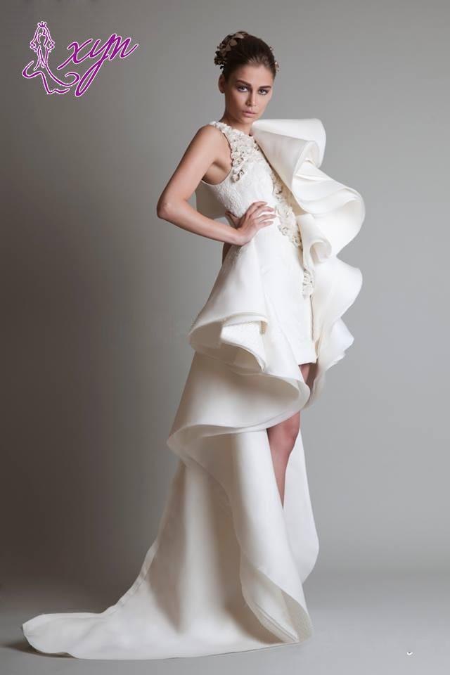 2019 Specialdesign Hi-Lo Bröllopsklänningar Sweep Train Jewel Organza Ruffles Beaded Ärmlös Skräddarsy Kort Ivory Brudklänningar