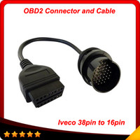 Wholesale Iveco Cable - 2014 IVECO 38Pin Cable OBD 2 Diagnostic Adapter Connector Car Diagnostic Interface Cable For IVECO Trucks free shipping