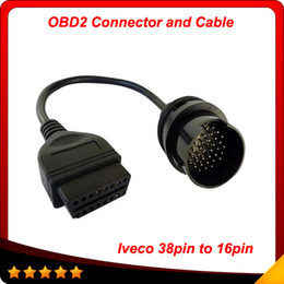 Wholesale Obd Interface Cable - 2014 IVECO 38Pin Cable OBD 2 Diagnostic Adapter Connector Car Diagnostic Interface Cable For IVECO Trucks free shipping
