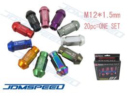 Wholesale Aluminum Wheel Racing - JDMSpeed wholesale-20pcs JDM D1 Spec M12 x 1.5 Racing Lug Wheel Nuts Screw Aluminum Universal