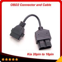 Wholesale obd2 16 - 2014 for Kia 20 PIN to 16 PIN OBD1 to OBD2 Connect Cable for Kia 20PIN Car Diagnostic Tool Cable Kia 20 PIN Diagnostic Connerctor